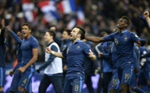 La joie des Bleus après la qualification au Mondial 2014